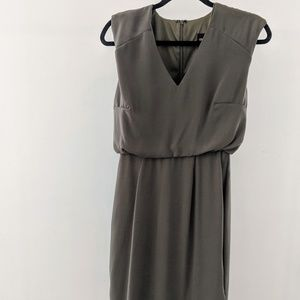 Olive Green ASOS V-Neck Dress